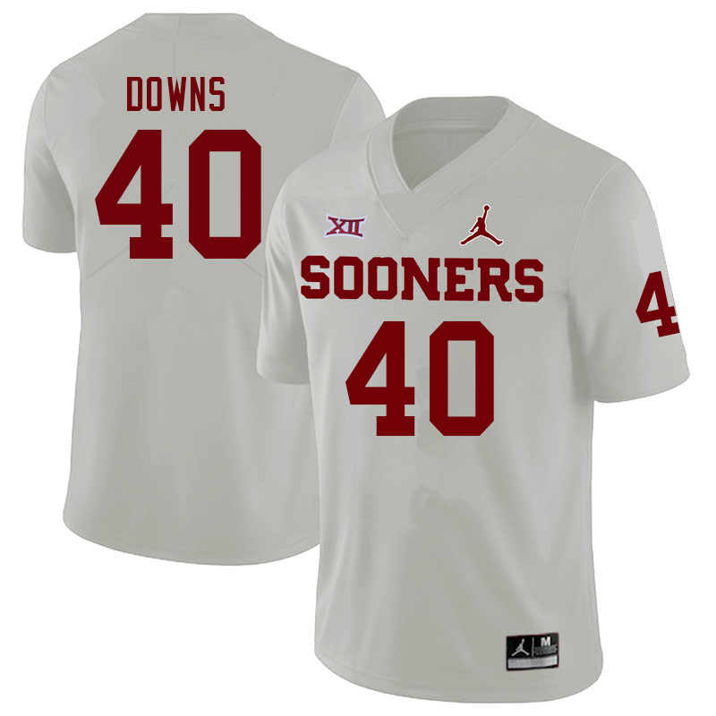 Men #40 Ethan Downs Oklahoma Sooners College Football Jerseys Sale-White
